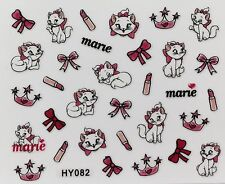 Nail Art 3D Decal Stickers Cute Cat Kitten Crown Lipstick Marie HY082