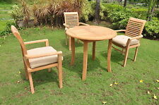 """Sam Grade-A Teak Wood 4 pc Dining 36"""" Round Table Arm Stacking Chair Outdoor Set"""