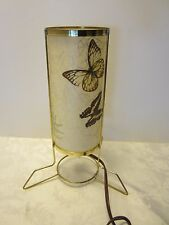 Retro Mid Century Atomic metal Table Lamp Fiberglass Shade Butterflies Vintage