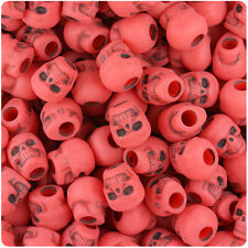 150 Bright Neon Red Antique 11mm Halloween Skull Pony Beads Made in the USA