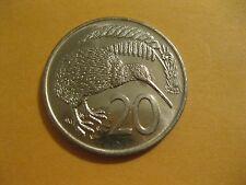 "1977 or 78  New Zealand 20 Cent Coin  ""Kiwi Bird""  very nice coin  world coins"