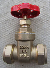 22mm Compression gate valves - TWO off for sale.