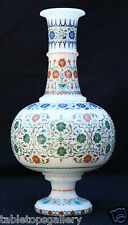 Antique White Marble Flower Vase Micro Inlay Collectible X-mas Gift Decor H1947