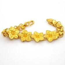 "Vintage 24K Yellow Gold Plumeria Flower Chain Link Hook Eye Bracelet  6.25"" QZ"