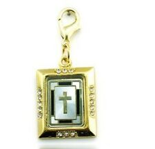 BEAUTIFUL 18K GOLD PLATED, PEARL CROSS BIBLE BOOK CLIP ON CHARM.