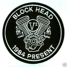 CAFÉ RACER ROCKERS FOREVER TON-UP BOYS IRON-ON DUCATI PATCH: BLOCKHEAD V2 ENGINE