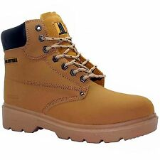 MENS HONEY SAND   TAN NU BUCK  LEATHER  SAFETY BOOTS STEEL TOE CAP  SIZE uk10