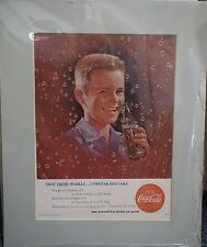 Original Vintage Advertisement mounted ready to frame 'unmistakeable Coke' 1956