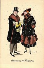 Weihnachten, Mann u. Frau, sign. Zabczinsky, um 1920