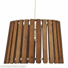 Dar Lighting Fence 1 Light Drum NON ELECTRIC Pendant in Wood Finish