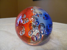 "Multi Colored Glass Round Crystal Ball Paper Weight With Air Bubbles - 3"" -HTF"