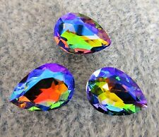 3pcs 18x13mm Teardrop Crystal Glass Fancy Stone Pointed Back Cabochon Rainbow Ab