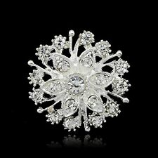 Fashion Silver Plated Lady Brooch White Rhinestone Brooches Pins Party Jewellery
