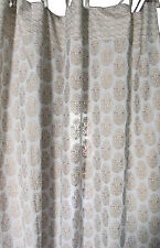 Anokhi curtain with top ties - white with gold & white paiselys - 100% cotton