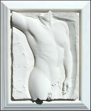 "Bill Mack ""Valiant Detail"" Bonded Sand Hand Signed Sculpture of male torso L@@K!"