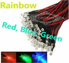 1000PC RGB LEDs Pre Wired Red Green Blue Fast Flash Rainbow Light 12V  20cm 10mm