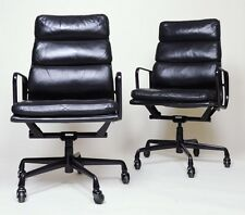 RARE Black Eames Herman Miller Soft Pad High Back Aluminum Group Chairs 15 Avail