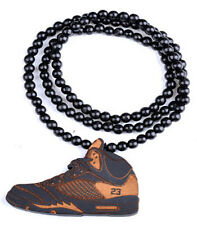Sneaker Hip-Hop Theme Wood  Necklaces Pendant Beads Chain Necklaces Best Gift