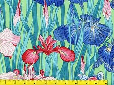 Red Pink White & Blue Japanese Iris Flowers Green Quilting Fabric by Yard  #984