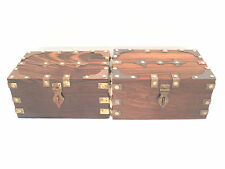 "Quality Pair Of Brass Bound Oak Boxes With Hasp 6""L 4""W 3""D"