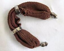 ANTIQUE VICTORIAN RED KNITTED & CUT STEEL MISERS STOCKING PURSE c1860