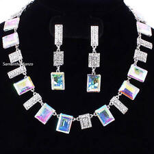 Emerald Cut AURORA BOREALIS Micro Pave Cz Crystal Tennis Necklace Dangle Earring
