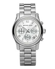 Michael Kors Ladies Silver-Tone Chronograph Runway Designer Watch MK5076