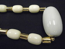 """Vtg Napier Gold tone Spacers & Ivory Lucite Glass Beaded Necklace 14"""" Statement"""