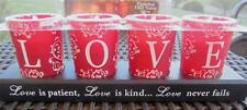 5 piece LOVE Flameless TEA Light Set Red Frosted Glass NEW