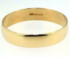 9Carat Yellow Gold Plain Wedding Ring / Band (Size M) 4mm Width