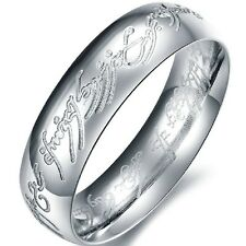 Size 7-12 Silver Titanium Ring LOTR Lord of Rings Stainless Steel Wedding Band