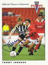 A Panini 92 card featuring & personally signed by Tommy Johnson of Notts County.