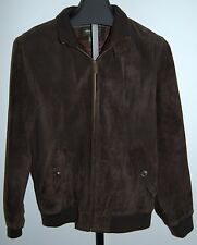 Eddie Bauer Seattle Suede Full Zip Front Leather Jacket Mens Medium Brown
