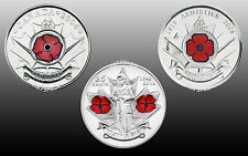 Canada 2004, 2008, 2010 Poppy Remembrance Day 25 Cent Set Mint Unc. (3 Coins)