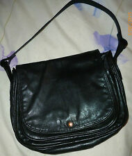 Lady's Medium Black Real Leather Fixed Strap Handbag