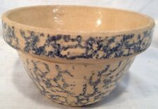 "Roseville Yellow Ware Pottery Blue Spongeware 6"" Mixing Bowl RRP Co USA / OHIO"