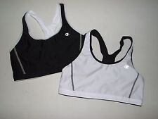 NEW Womens CHAMPION Lot of 2 Black White Reversible Sports Bra Sz M 36A - 34-D
