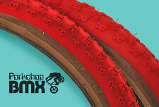 """Kenda Comp 3 III old school BMX skinwall gumwall tires 20"""" STAGGERED PAIR - RED"""