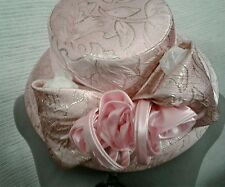 Aussie Austine Kentucky Derby Style Church Hat Light Pink with Gold accents