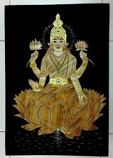 "Laxmi Indian natural rice straw collage on cloth 13""x19"" 34cm x 49cm Ӝ"