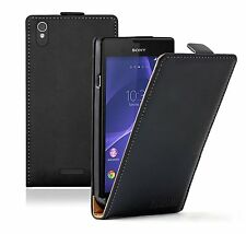 Ultra Slim BLACK Leather Flip Case Cover Pouch for Sony Xperia T3 D5103 / D5106