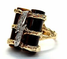 14k Yellow Gold Two Tiger Eyes Cylinders 0.10 ct Diamond Accent Ring
