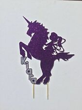 Glitter Unicorn and Fairy Birthday Cake Topper with Layered name