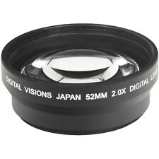 2.0X Tele Telephoto Lens Black for 52mm 52 mm thread