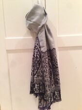 Black Paisley Silver Grey Pure Cashmere Wool Shawl Scarf Wrap Christmas Gift NEW