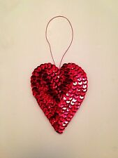 NEW Red Heart Christmas Tree Decoration Bauble Sequin Tinsel Bling Handmade Love