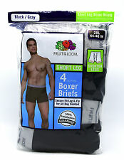 4 Black Gray 2XL 44-46 Inch Fruit Of The Loom Short Leg Boxer Briefs 112-117 CM