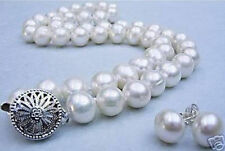 Natural 9-10mm White Freshwater Pearl Necklace earring Set