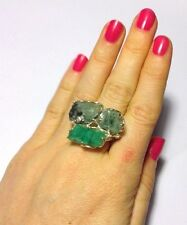 Awesome! 25 CTS Rough Natural Colombian Emerald Sterling Silver 925 Ring