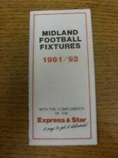 1991/1992 Fixture List: Midland Football Fixtures - Fold Out Style Card Covering